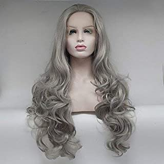 Women's Synthetic Lace Front Wig Medium Long Body Wave Grey Natural Wigs Costume Wig