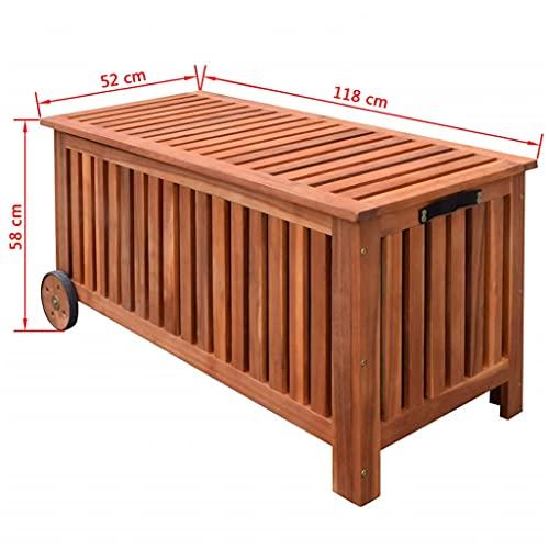 vidaXL 41772 Aufbewahrungsbox Gartentruhe Gartenbox Kissenbox + Räder Holz 118x52x58cm, One Size - 7