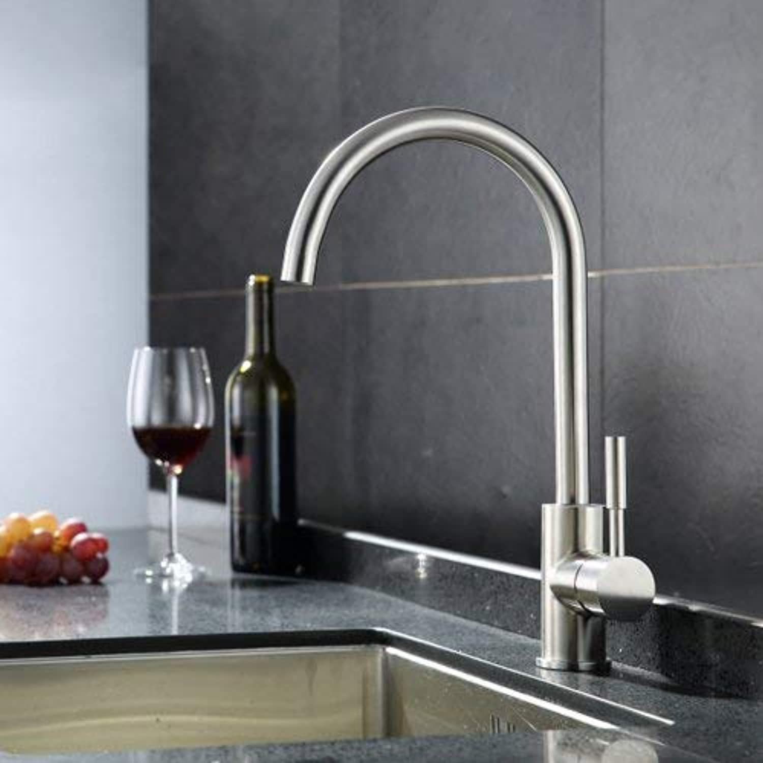 Stainless Steel Single-Lever Kitchen Mixer Hot and Cold Ceramic Kitchen Mixer Kitchen Sink Ceramic Valve Faucet (color  A)