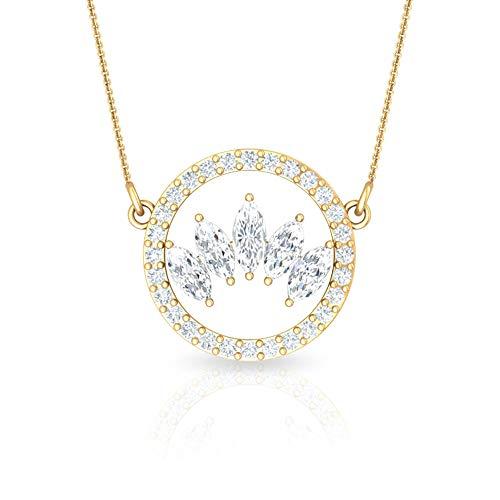 Rosec Jewels - 10 K Gelbgold Markise Runder Brilliantschliff Leicht Getöntes Weiß/Top Crystal (I) Diamant