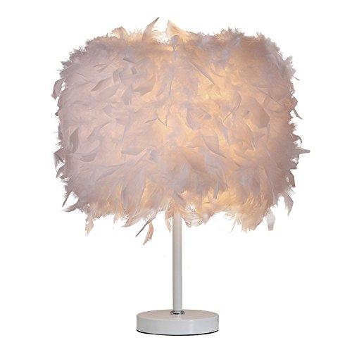 Elitlife Federn Tischlampe Nachttischlampe Weiß Federn Tischleuchte Schlafzimmer Wohnzimmer
