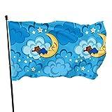 JDQP Hermosas Nubes y Luna Banderas Divertidas para Adultos Banderas de Patio de Vacaciones Set 3x5 Pies Colores Vibrantes Calidad Poliéster y Ojales de latón