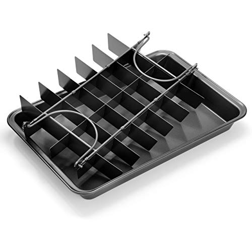 Elbee Home Professional Brownie Baking Pan, Includes Browny Divider for Perfectly Cut Brownies Every Time, Durable Carbon Steel, 13 Inch, Non Stick, Easy Clean