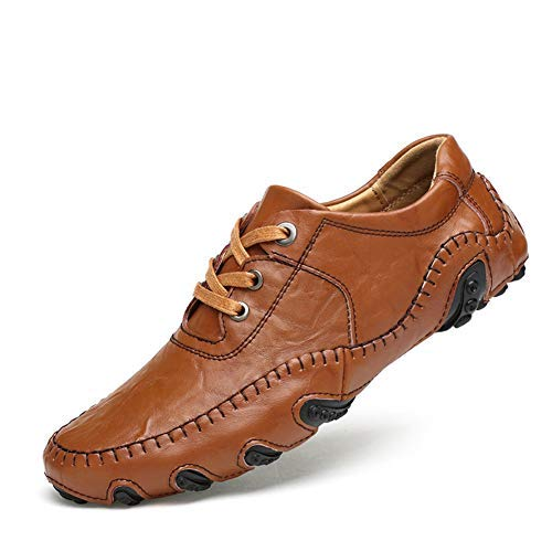 Ksone Men Golf Shoes Male Money Waterproof Head Layer Cowhide Rotating Nail Shoes Laces Activities (Brown,43)
