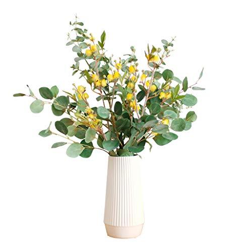 Flores artificiales Artificiales Acacia hojas de eucalipto con falso transparente florero 6Pcs boda de las flores Flores Ramos Disposición Home Office Party centro de mesa Decoración Decoración hogare