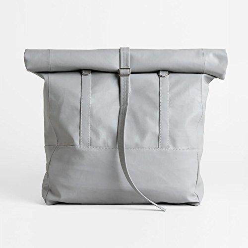 Convertible Backpack Tote, PU Leather Rucksack, Large Faux Leather Shoulder Bag, Unisex Vegan Travel Rolltop