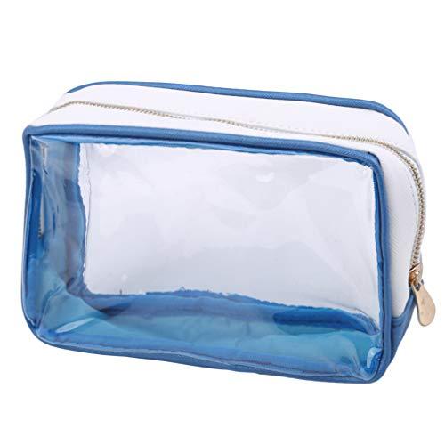 LIXIAQ1 Rectangle Transparent Cosmetic Bag Portable Zipper Makeup Bag Toiletry Storage Bag, Royal Blue