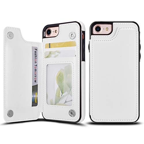 UEEBAI Case for iPhone 6 Plus 6S Plus, Luxury PU Leather Case with [Two Magnetic Clasp] [Card Slots] Stand Function Practical Soft TPU Case Back Wallet Flip Cover for iPhone 6 Plus/6S Plus - White