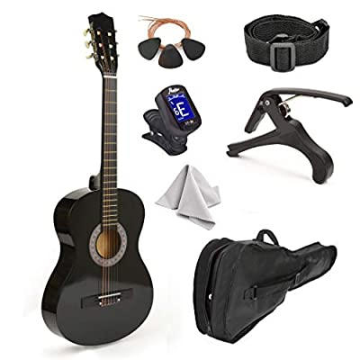 """30"""" Natural Wood Guitar With Case and Accessories for Kids/Boys/Beginners"""