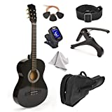 38' Wood Guitar With Case and Accessories for Kids/Boys/Girls/Teens/Beginners (38', Black)