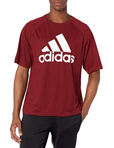 adidas mens Short Sleeve Clima Tee Collegiate Burgundy/White X-Large