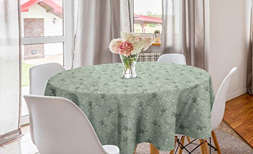 """Ambesonne Xmas Round Tablecloth, Ornamental Abstract Consecutive Winter Holiday Themed Moons Stars Branches, Circle Table Cloth Cover for Dining Room Kitchen Decoration, 60"""", Green Cream"""