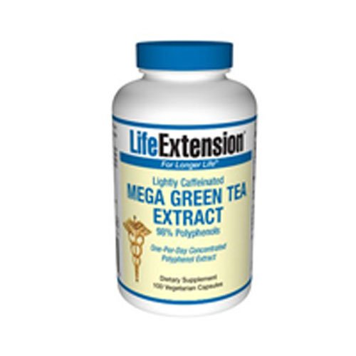 Life Extension Mega Green Tea Extract (Lightly Caffeinated)   100 Vegetarian Capsules 6 Pack