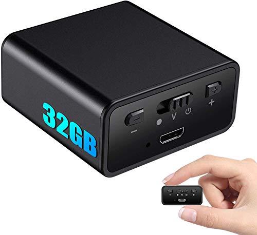 Henf Mini Digitales Diktiergerät Stimmenaktivierung, 32GB Magnetisches Aufnahmegerät, 384 Stunden Akku, One-Touch-Aufnahme, Spracherkennung, Abhörgerät, Voice Recorder für Vorlesung, Meeting
