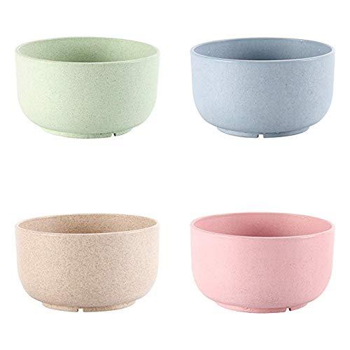Cuenco de plástico con diseño de paja de trigo saludable, con cuenco para frutas o arroz, de mesa, irrompibles, para niños, con soporte de microondas (4 cuencos), Color 3, 4.5(L)*2.48(H) inch