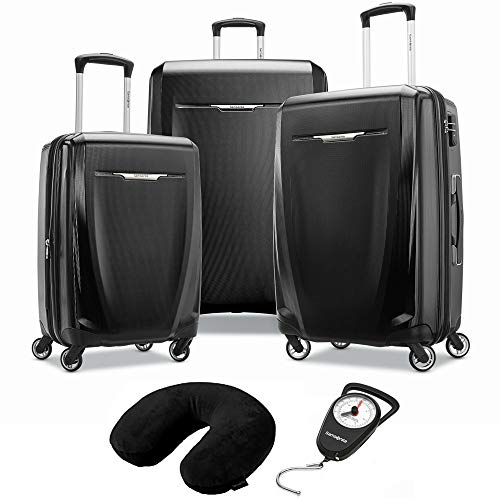 Samsonite Winfield 3 DLX 3 Piece Set Spinner 20/25/28 Black (120751-1041) Manual Luggage Scale & Microbead Neck Pillow Black