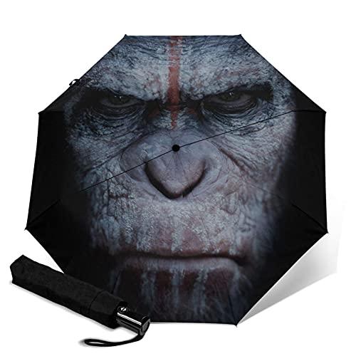 Planet Apes Paraguas automático portátil de tres pliegues, compacto y portátil plegable cortavientos impermeable y anti-UV