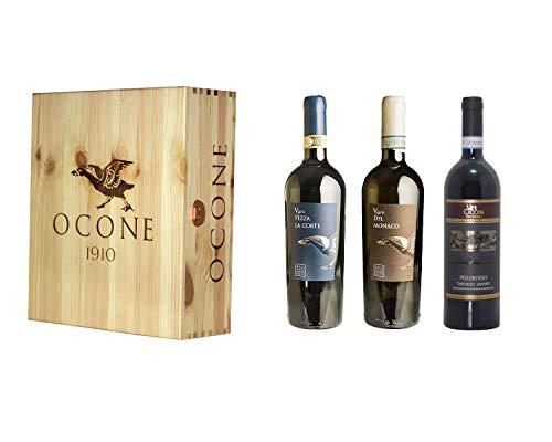 Confezione Regalo in legno Ocone Vini 1910-1 x Aglianico del Taburno DOCG, 1 x Falanghina del Sannio DOC, 1 X Piedirosso Taburno Sannio DOC, Linea Superiore - Ocone Vini 1910-3 bottiglie da 75 cl