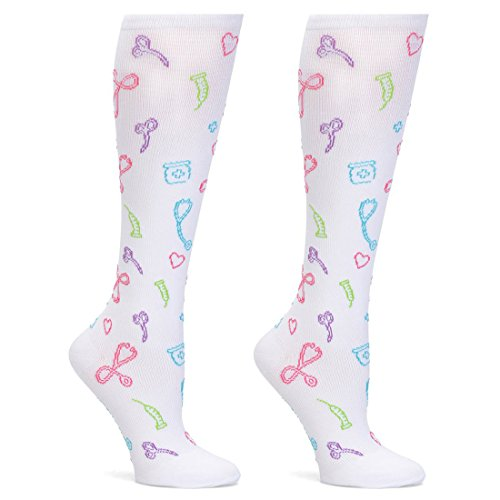 Nurse Mates 2 Pair Per Pack Compression Trouser Sock (Medical Symbols White)