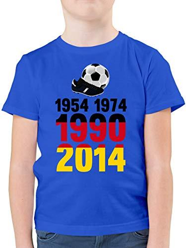 Fussball WM 2022 Fanartikel Kinder - 1954, 1974, 1990, 2014 - WM 2018 Weltmeister Deutschland - 164 (14/15 Jahre) - Royalblau - Trikot Deutschland Kinder gr 128 - F130K - Kinder Tshirts und T-Shirt