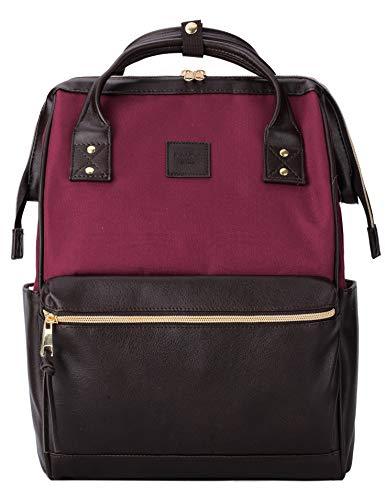 Kah&Kee Laptop Backpack Teacher Bag Stylish School Travel Perfect Commuting Backpack for Women Man (Wine/Brown)
