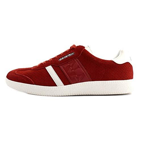 NAPAPIJRI Sneakers Uomo camoscio Rosso con Logo Laterale sulla Tomaia. Doppi Lacci, Rossi e Bianchi. Fondo in Gomma Bianca Antiscivolo.
