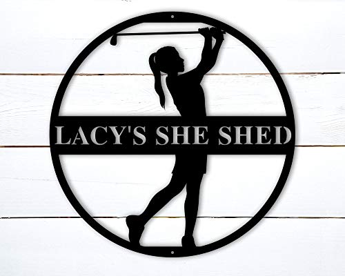 Tamengi Personalized Golf Sign-Metal Golf Wall Art, Womens Golf Gifts for Women, Women Golfer Gifts, She Shed Metal Sign, Custom Golf Sign 24inch