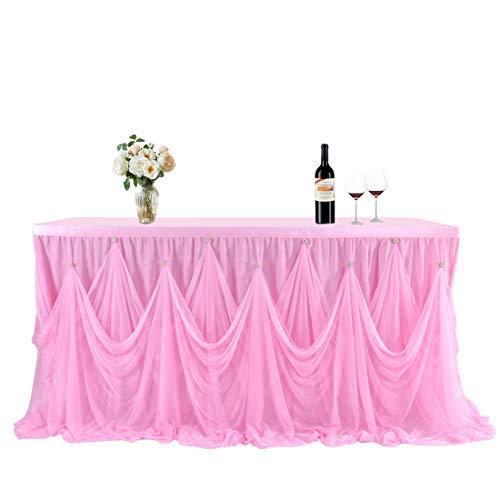 NSSONBEN Tüll Tischrock Rosa Tischröcke für Baby Shower, Hochzeit, Geburtstag 2 Yards