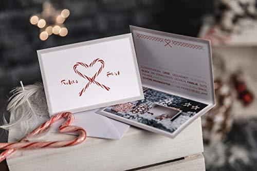 Weihnachtskarten mit Umschlag (10er Set) - Klappkarte mit Zuckerstangen Motiv für die schönsten Weihnachtsgrüße - Frohes Fest