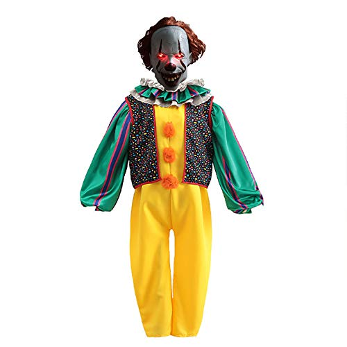LISI Disfraz Payaso Asesino Pennywise Clown It Cosplay Terror Payaso Outfit con Mascarilla y Zapatos para Halloween Adultos Mujeres,A,XXL