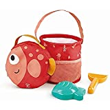 Hape Fold and Go Beach Toy Sets with Easy Carry Cavas Bag| Beach Toy Playset with Bucket for Toddlers 18M+