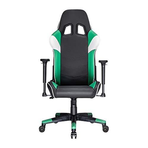 Silla de oficina de estilo deportivo E-sports con respaldo más grande y reposabrazos más grandes, color verde
