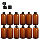 8 Ounce Boston Round Bottles, PET Plastic Empty Refillable BPA-Free, with Black Flip Up Snap Top Caps (Pack of 12) (Amber)