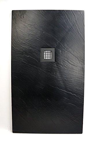 Superflache Duschtasse Duschwanne schwarz 70 x 120 cm Komplettes Set Schiefer Optik kratz und rutschfest Antirutsch Höhe 3,5 cm inkl. Ablaufgarnitur Art-of-Baan®