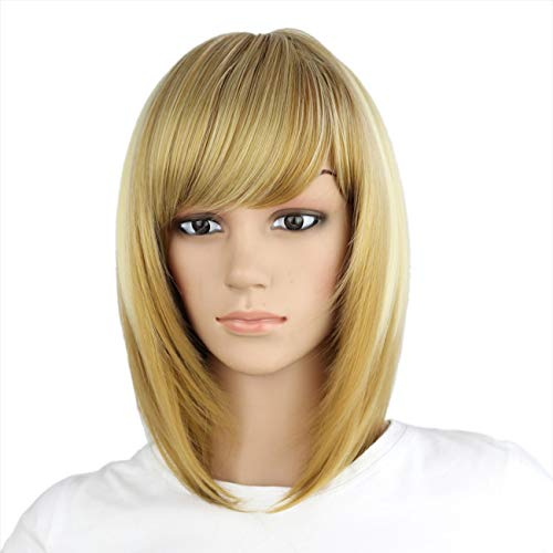 eNilecor Short Bob Hair Wigs 12 Straight with Flat Bangs Synthetic Colorful Cosplay Daily Party Wig for Women Natural As Real Hair+ Free Wig Cap (Highlighted Blonde)