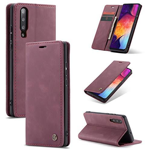 AKC Funda Compatible para Samsung Galaxy A50/A30s Carcasa con Flip Case Cover Cuero Magnético Plegable Carter Soporte Prueba de Golpes Caso-Vino Rojo