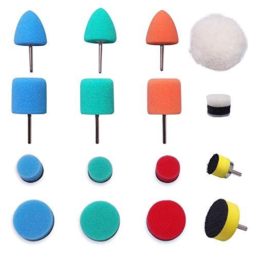 Detail polier, polierschwamm, Polierset, 16tlg Polierschwämme Auto polieren und Schwamm Wolle Set für Mini Multifunktionswerkzeug für Autoschleifen, Polieren, Wachsen, Versiegelungsglasur -HTDEPMIX