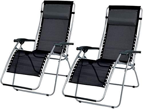 HORIZON SET OF 2 GARDEN GRAVITY SUN LOUNGER FOLDING SUN BED RELAXING RECLINING CHAIRS (Black W/Silver Frame)