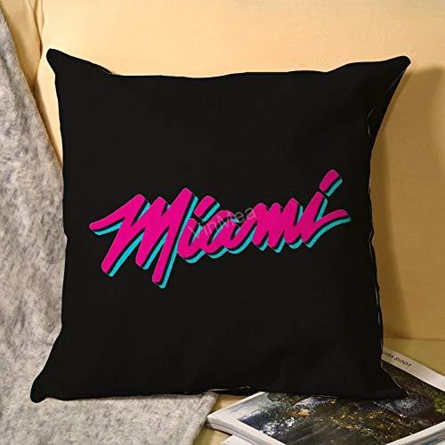 VinMea Decorative Throw Pillowcase Miami Heat Decorative Pillowcases Cushion Covers For Couch Sofa Living Room, Square 16'X16'