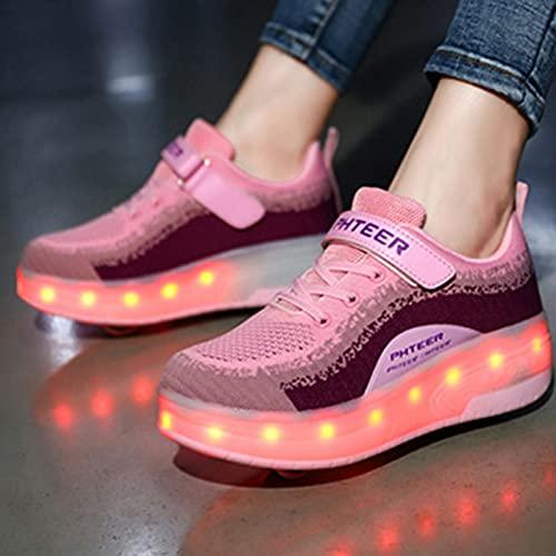 XRDSHY Zapatillas De Patinaje Patines De Ruedas LED Zapatos De Skate Técnicos De Doble Rueda Zapatos De Polea Unisex Al Aire Libre,Pink-38