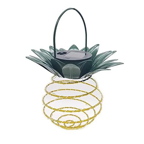 Qingxin 2 piezas piña luz solar decorativa impermeable colgante lámpara al aire libre con 24 LED jardín paisaje hadas linterna