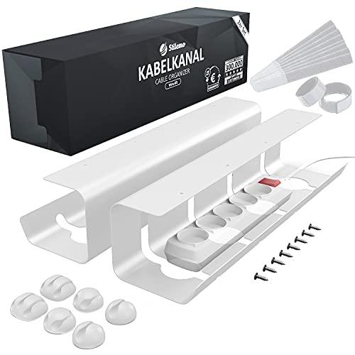 Kabelkanal Schreibtisch TÜV Rheinland geprüft - Kabelmanagement Schreibtisch für Ordnung am Arbeitsplatz - Kabelhalter Kabelwanne Tisch 2er Set - 43 x 12 x 10 cm - Kabelkorb (weiß)