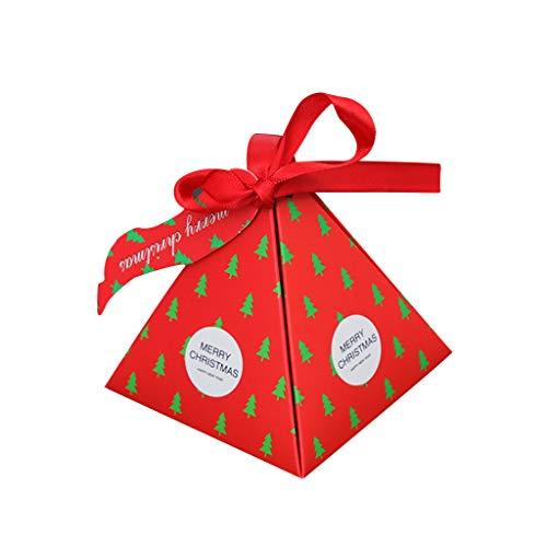 Riou Weihnachten Geschenkbox, 30 Stück DIY Papier Faltboxen mit Bänder Hängeetiketten Süßigkeiten-Boxen Keksschachtel Pralinenschachtel für Weihnachtsbaum Dekoration (Rot, 30 PCS)