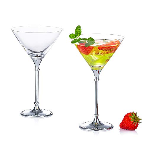 Nuptio Exquisitas Copas de Cóctel Martini Margarita Juego de 2 - Policarbonato, 7.8 Onzas, Copas de Vino para Cóctel Martini Margarita, Copas de Cóctel Martini para Centros de Mesa Fiestas Bar