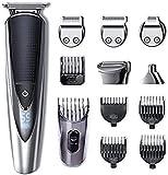 Hatteker hommes tondeuse à cheveux tondeuse à barbe kit de toilettage tondeuse à moustache tondeuse pour le corps tondeuse pour le nez oreille du visage sans fil cheveux étanche 5 en 1
