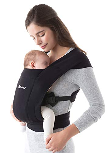 Ergobaby Embrace Mochila Portabebe Ergonomica Recién Nacidos, Extra Suave y Ultraligero (Pure Black)