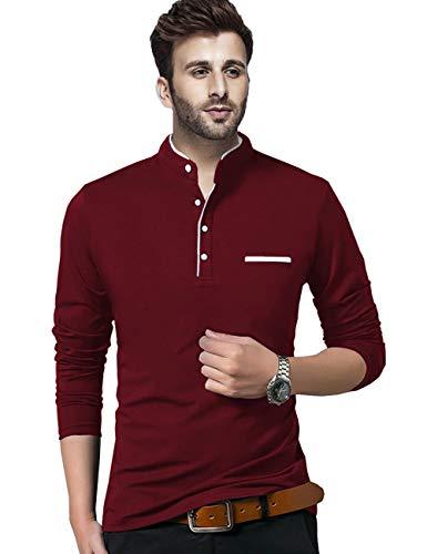 BLIVE Regular fit Solid Men's Henley Neck Full Sleeve Cotton Blend T Shirts (Maroon, Medium)