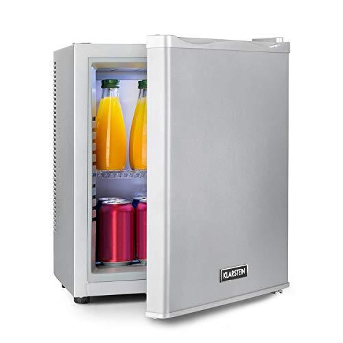 Klarstein Happy Hour - Minibar, Mini-Kühlschrank, Getränkekühlschrank, Kompression, Kühltemperatur: 5-15 °C, lautlos: 0 dB, LED-Licht, 19 Liter, silber