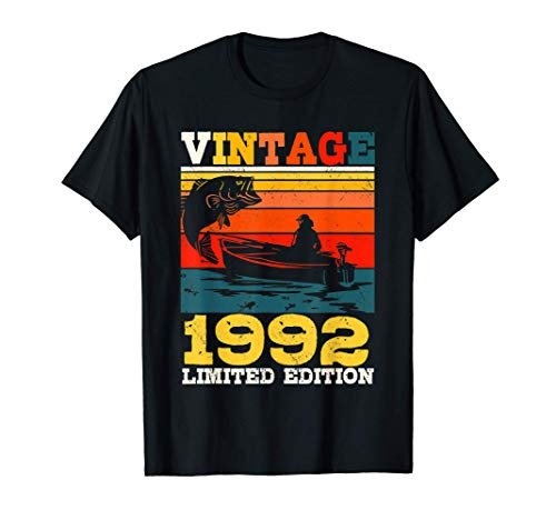 Regalo pescador hombre 29 años Vintage 1992 Pescador Pesca Camiseta