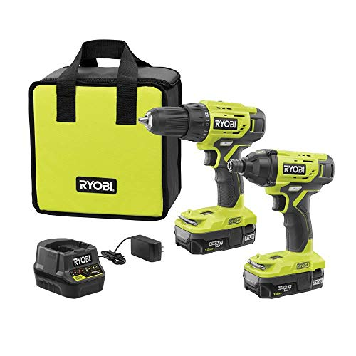 Ryobi P1817 18V ONE+ Lithium-Ion Cordless 2-Tool Combo Kit with (2) 1.5 Ah Batteries, 18-Volt Charger, and Bag